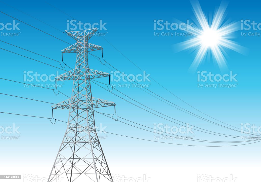 Power Line tower royalty-free stock vector art