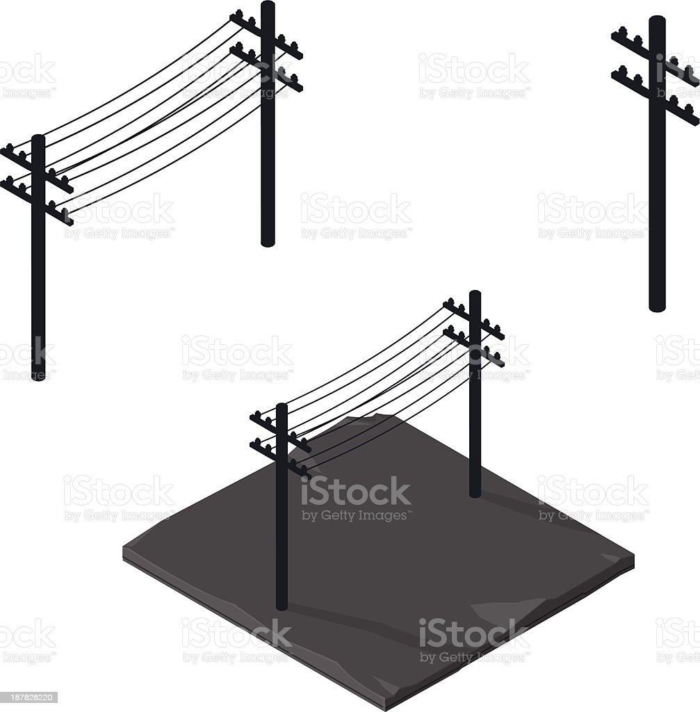 Power lines silhouette Icon vector art illustration