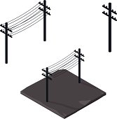 Power lines silhouette Icon