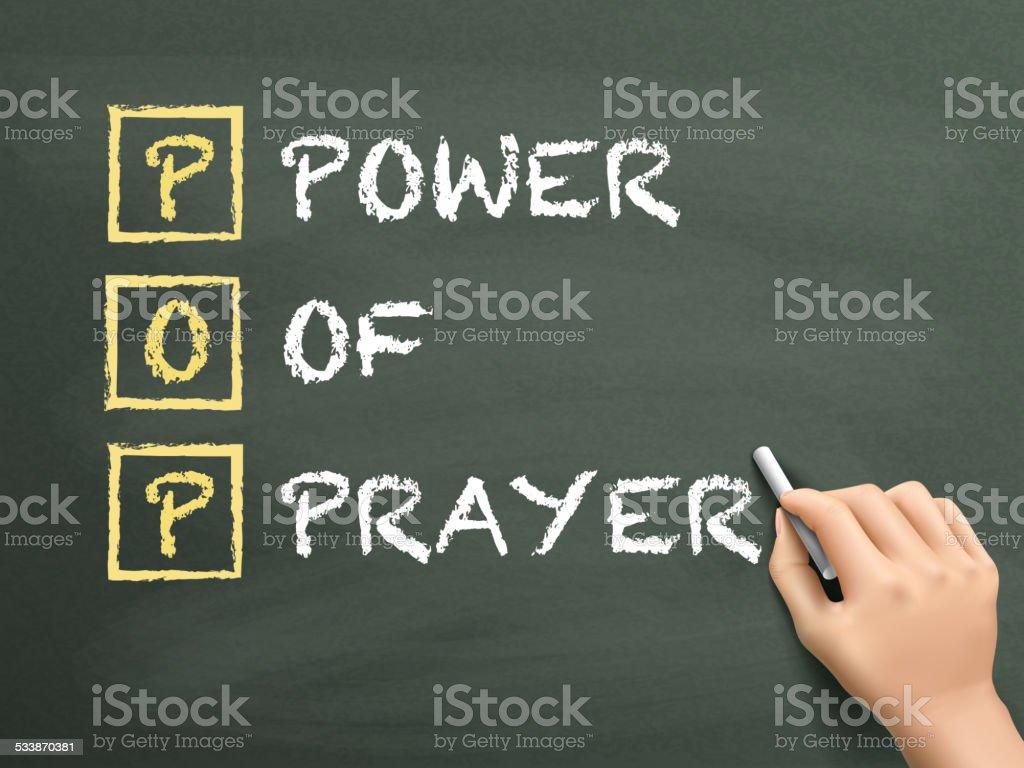 Power Of Prayer written by hand vector art illustration