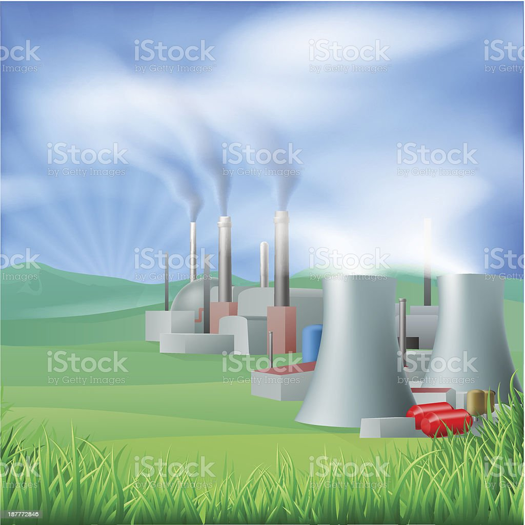 Power plant energy generation illustration vector art illustration