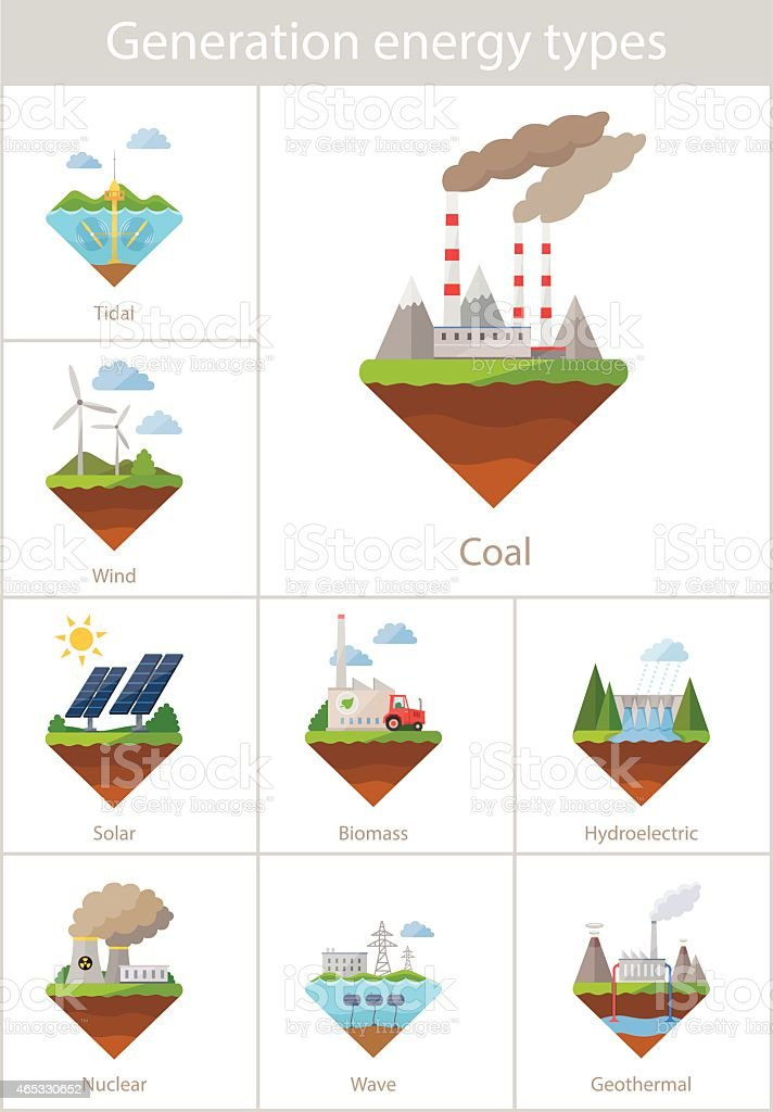 Power plant icon vector set vector art illustration