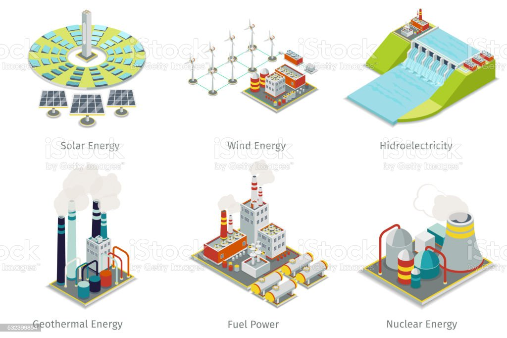 Power plant icons. Electricity generation plants and sources vector art illustration