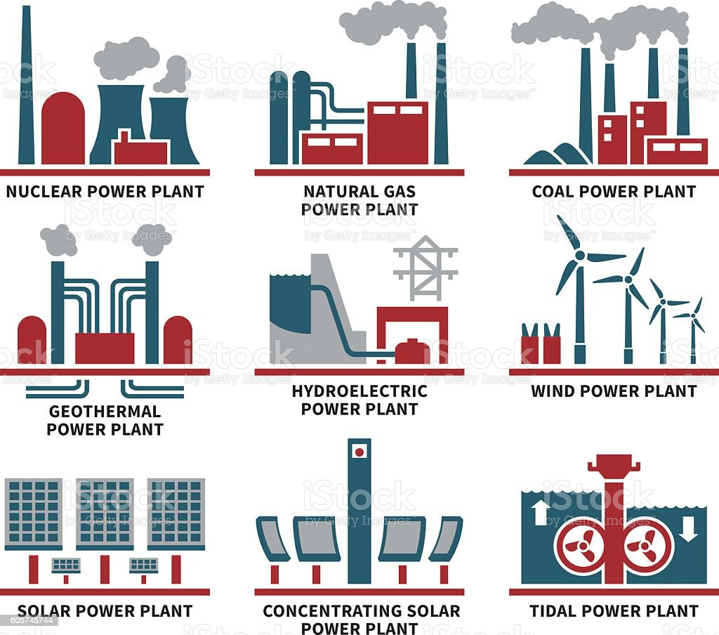 Power Plant Types Icon Set vector art illustration
