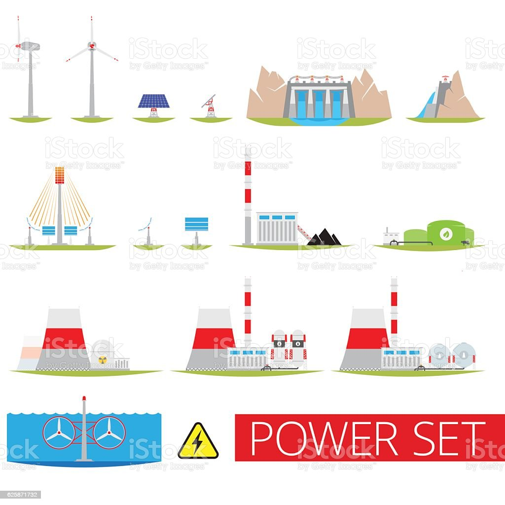 Power plants set vector art illustration
