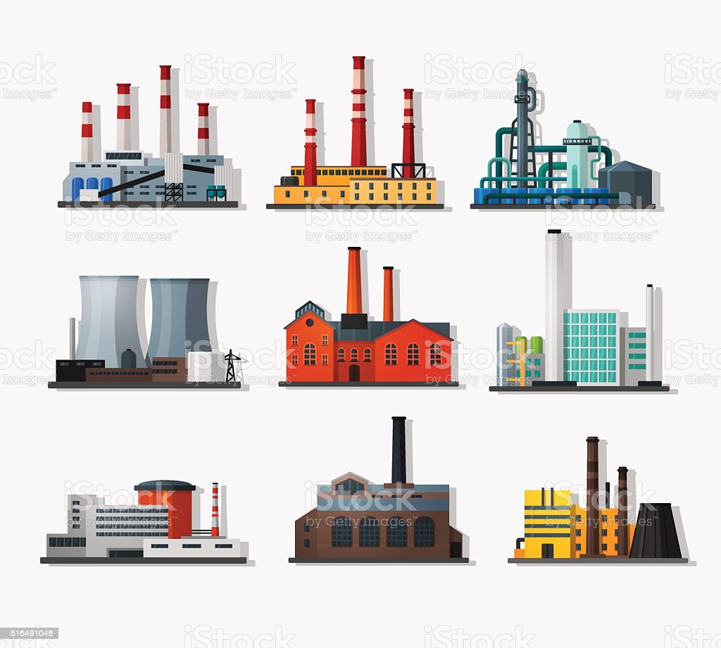 Power plants vector art illustration