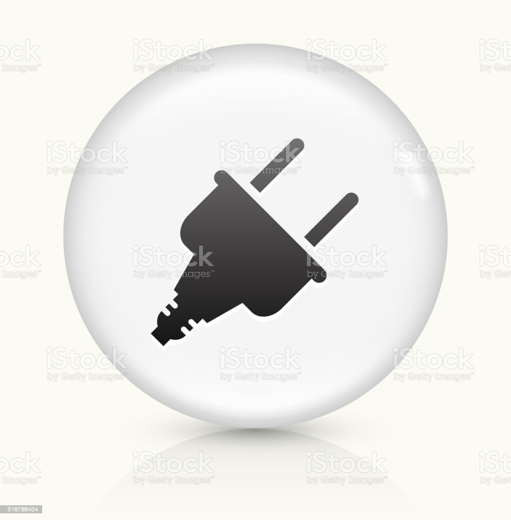 Power Plug icon on white round vector button vector art illustration