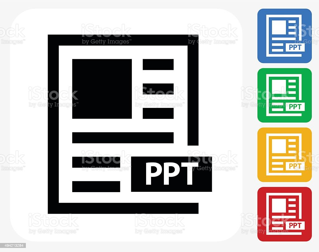 Power Point Text Icon Flat Graphic Design vector art illustration