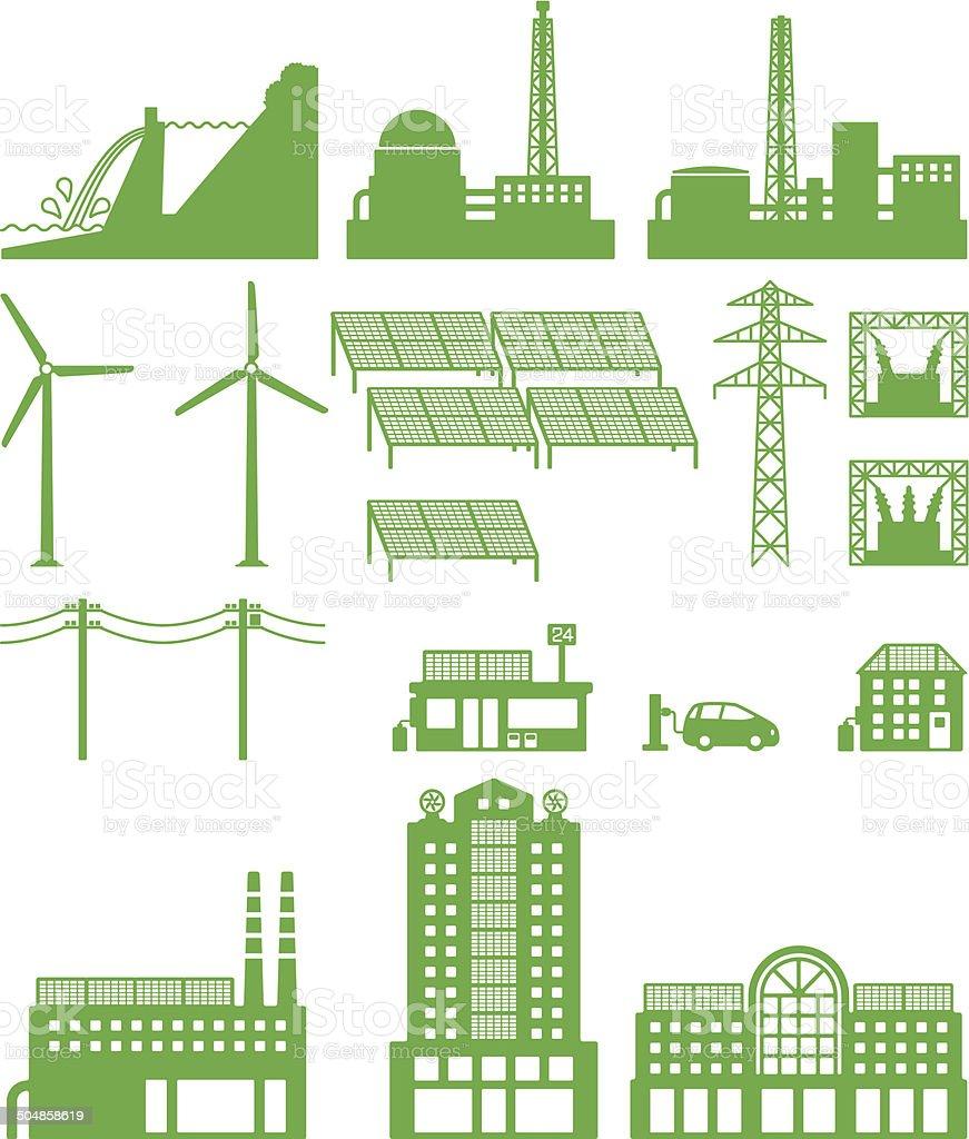 Power, power plant, power grid vector art illustration