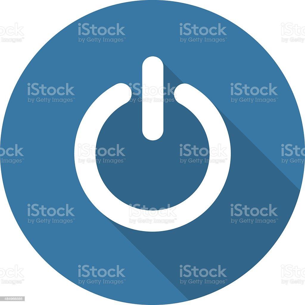 Power Sign Icon. Flat Design. Long Shadow. vector art illustration