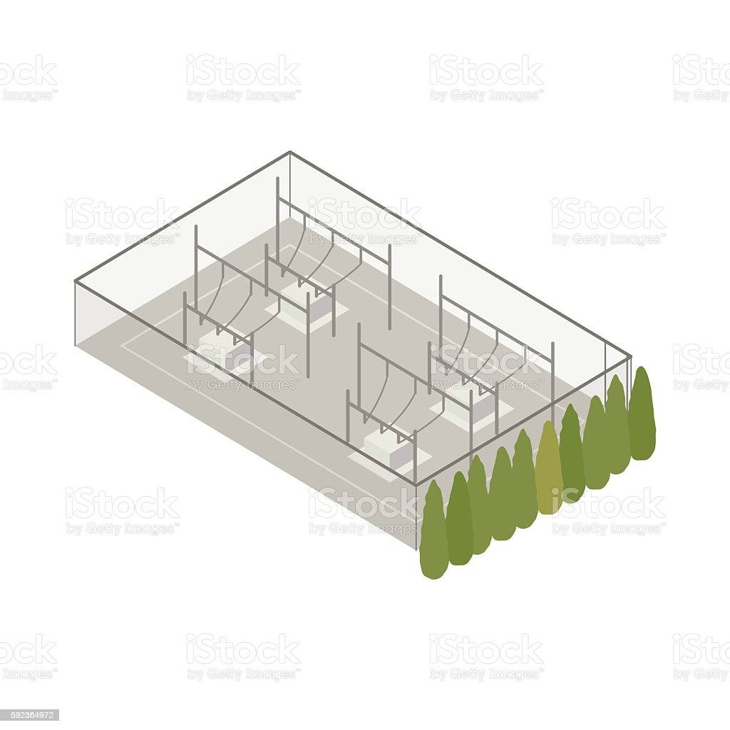 Power substation isometric illustration vector art illustration