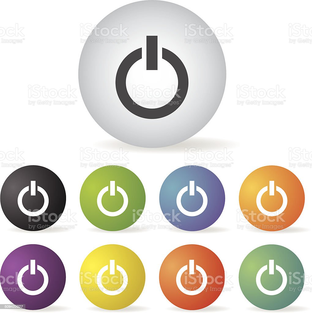 power switch off  icon set vector art illustration