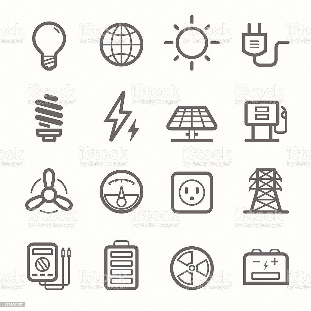 power symbol line icon set royalty-free stock vector art