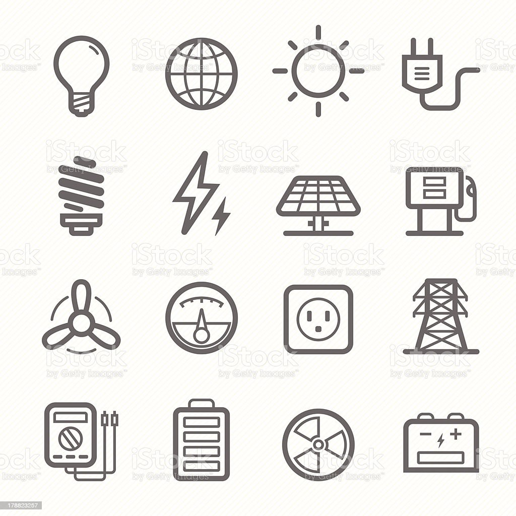 power symbol line icon set vector art illustration