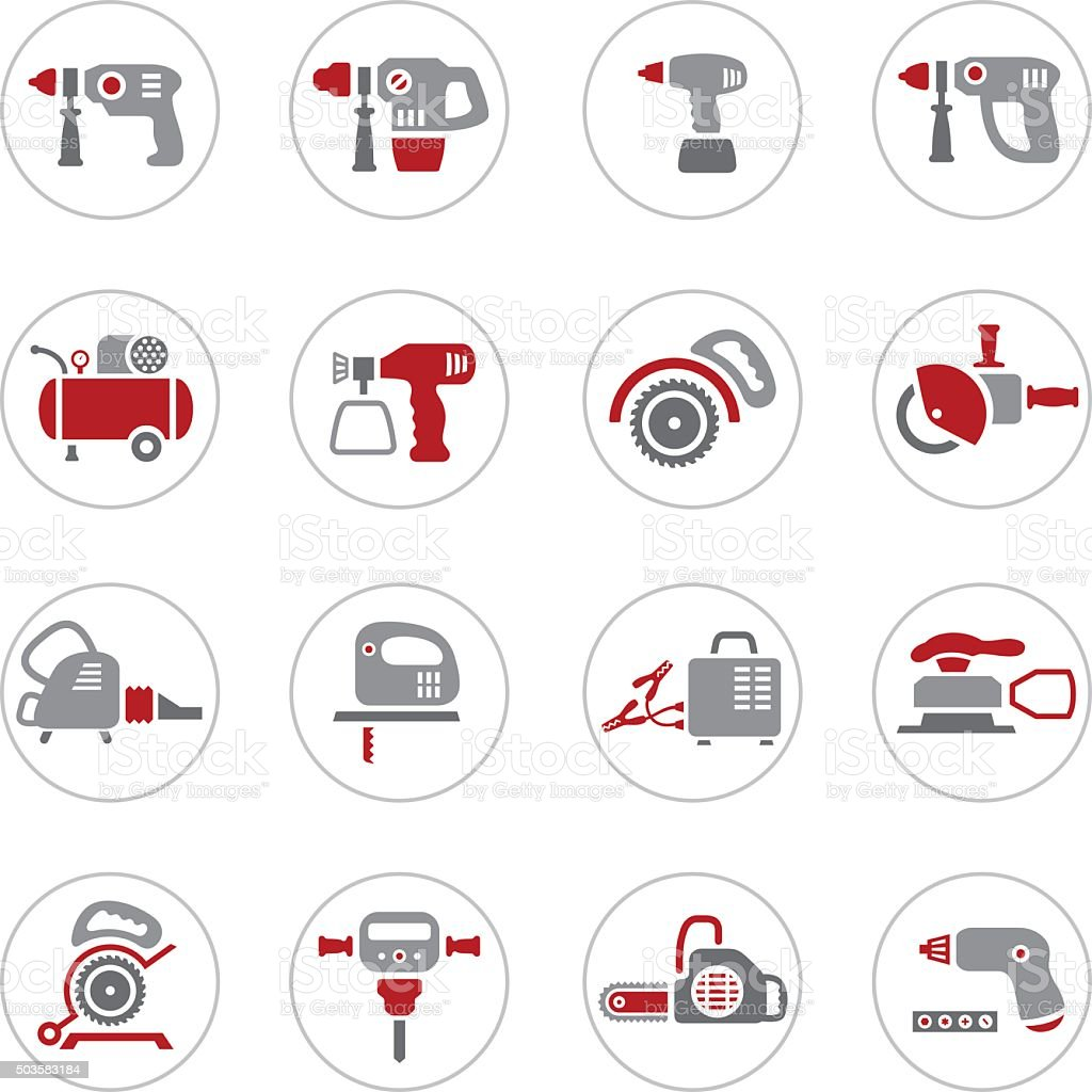 Power Tool Icons vector art illustration