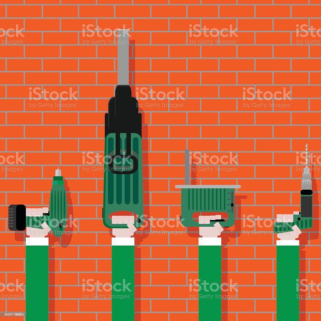 Power tools in hands on brick wall vector art illustration