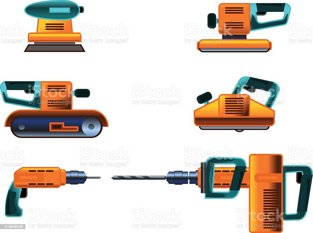 Power tools set vector art illustration