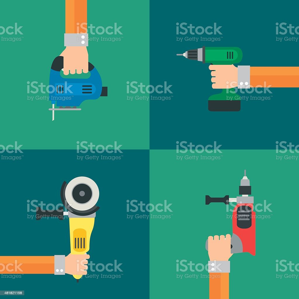 Power Tools vector, flat design style vector art illustration