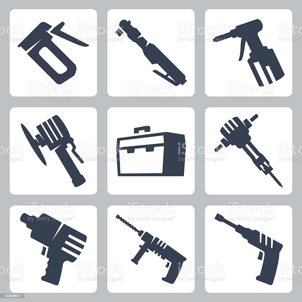 Power tools vector icons set vector art illustration