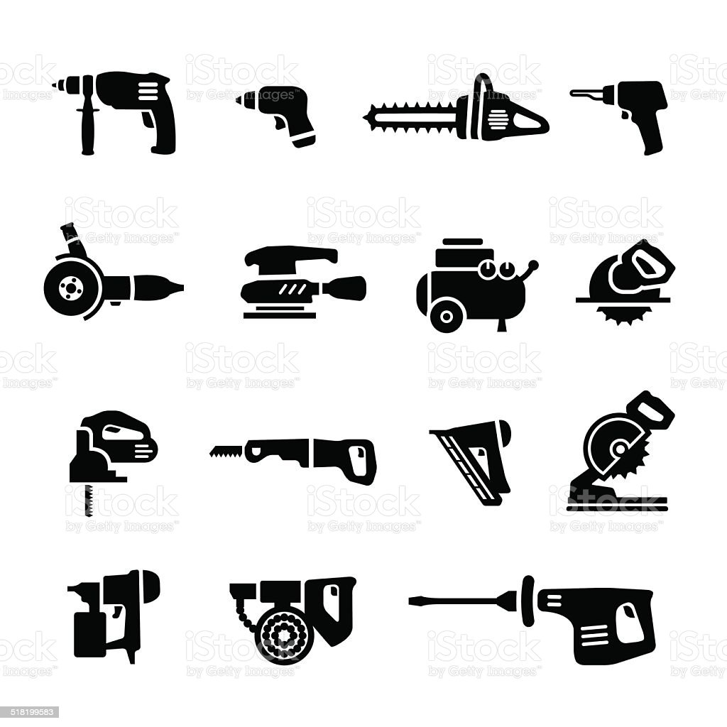 Power tools - vector set icons vector art illustration