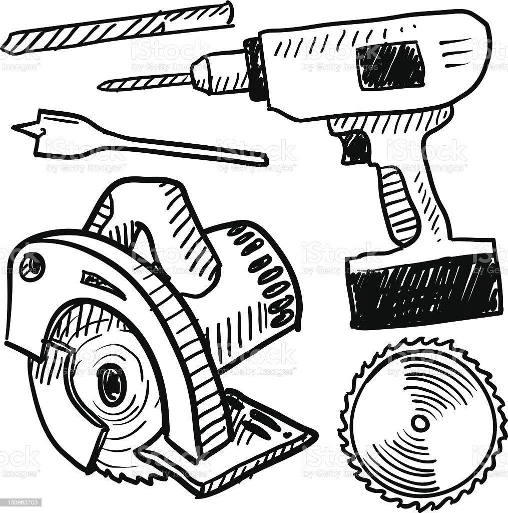 Power tools vector sketch royalty-free stock vector art