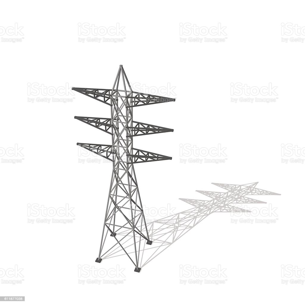 Power transmission tower. Isolated on white background. Vector i vector art illustration
