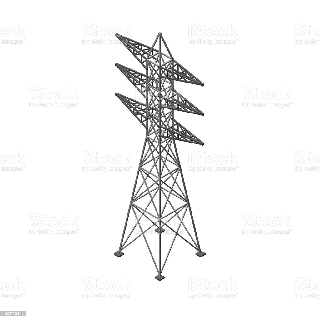 Power transmission tower. Isolated on white background. vector art illustration