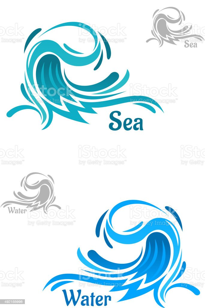Powerful blue ocean wave icons vector art illustration