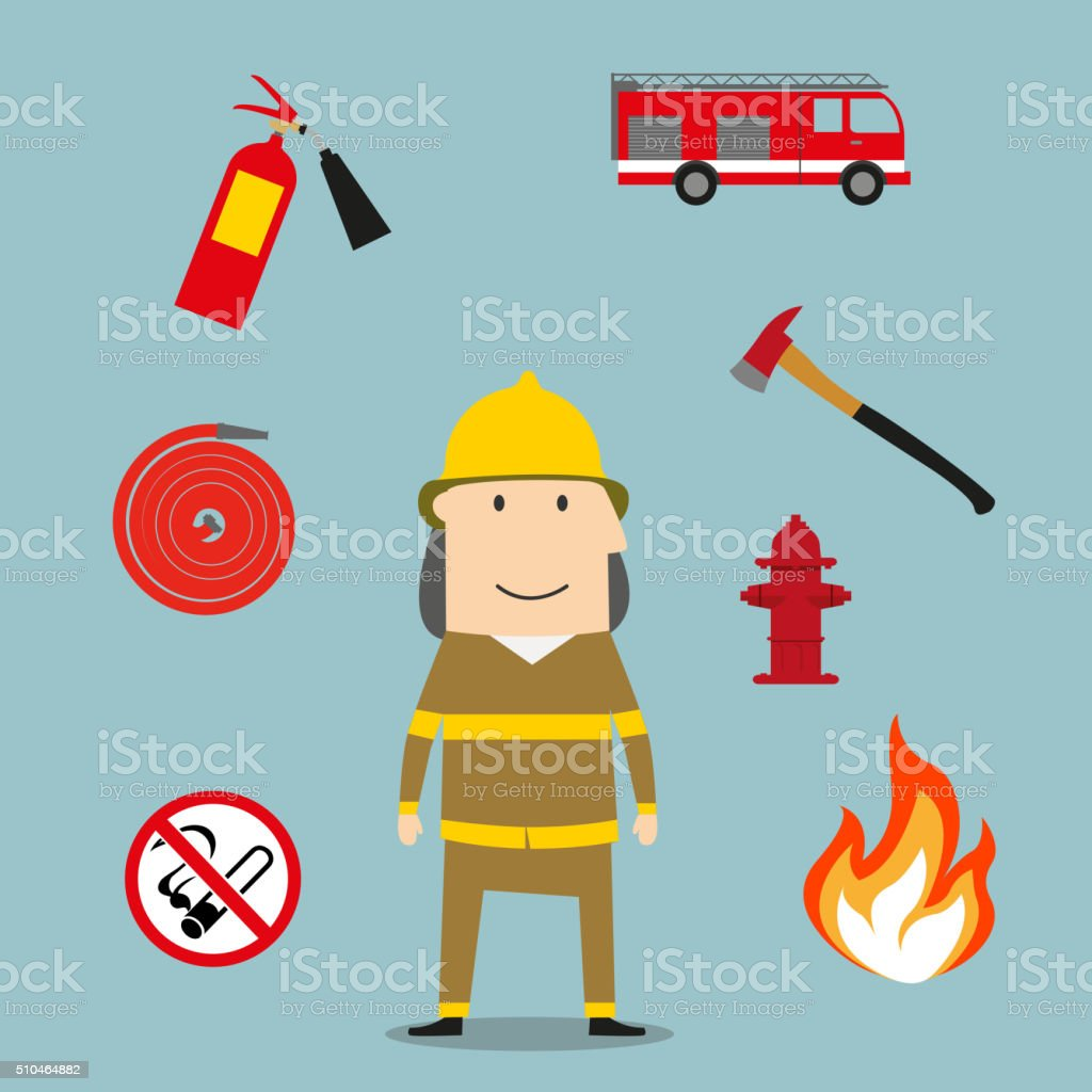 Powerful fireman with fire fighting tools vector art illustration