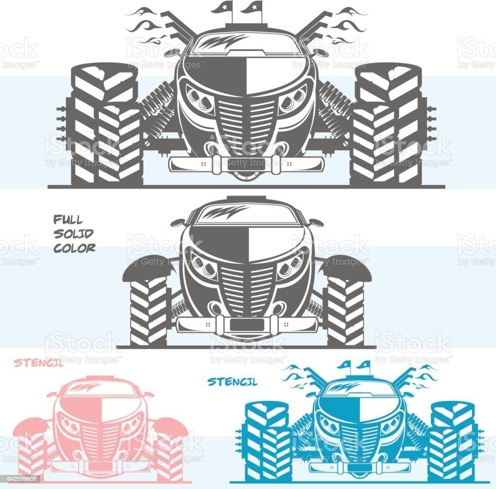 Powerful hot rod vector art illustration