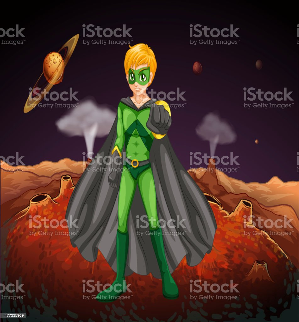 powerful man in the outerspace royalty-free stock vector art