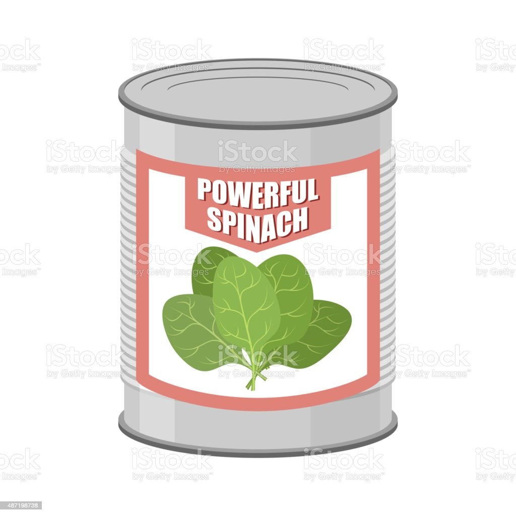 Powerful spinach. Canned spinach. Canning pot with lettuce leave vector art illustration