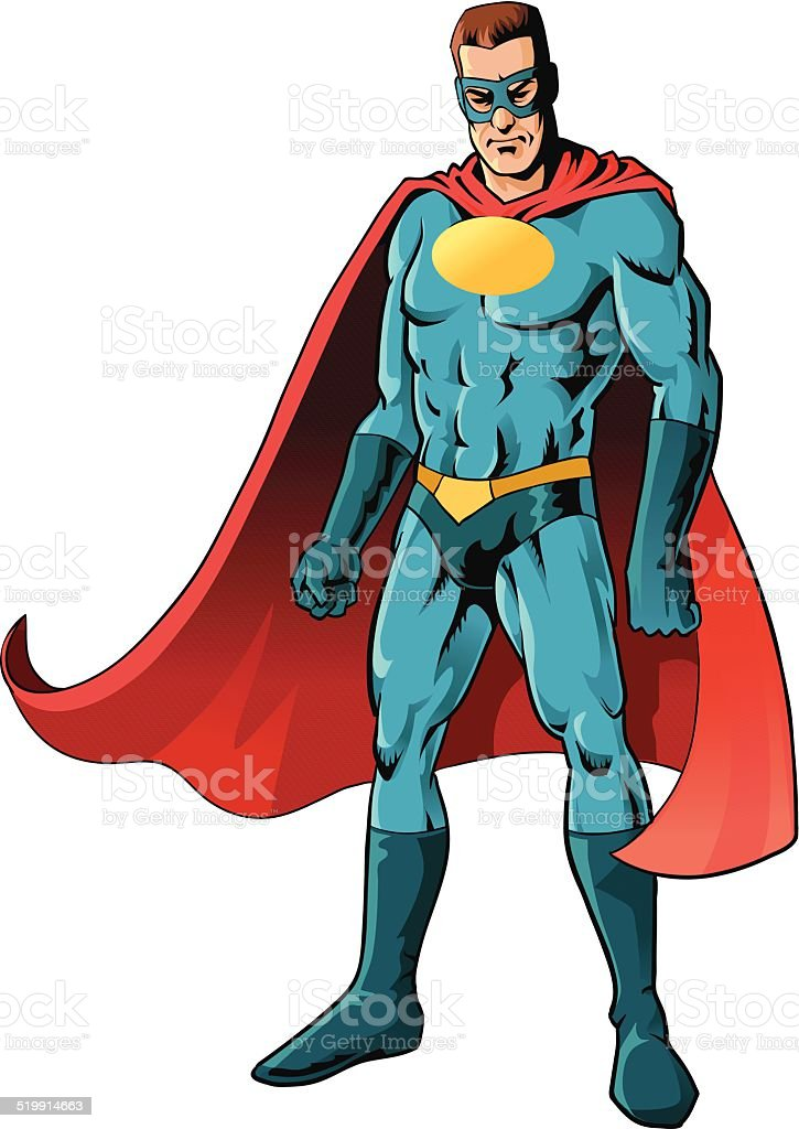Powerful Superhero Isolated vector art illustration