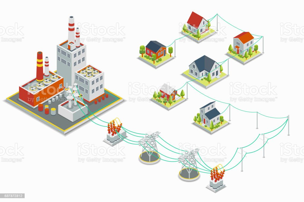 Powerhouse and electric energy distribution vector infographic. 3D isometric concept vector art illustration