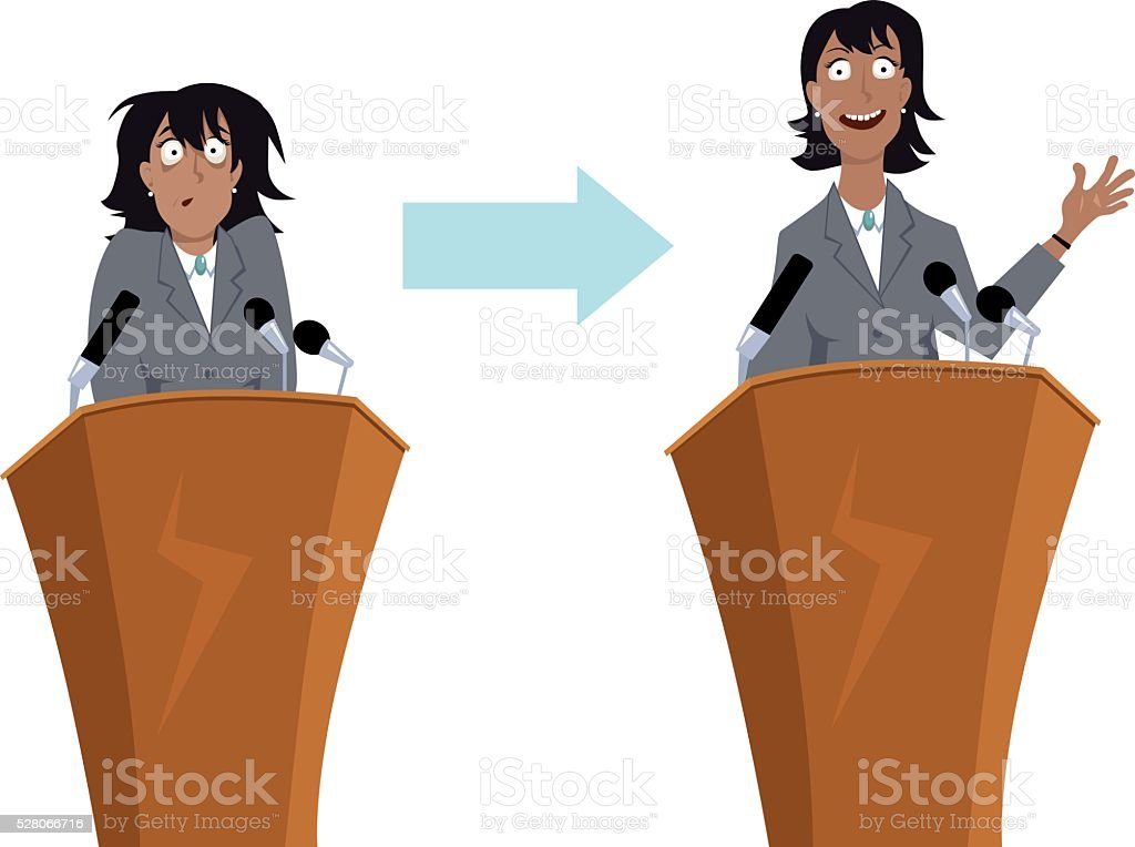 Practice public speaking vector art illustration