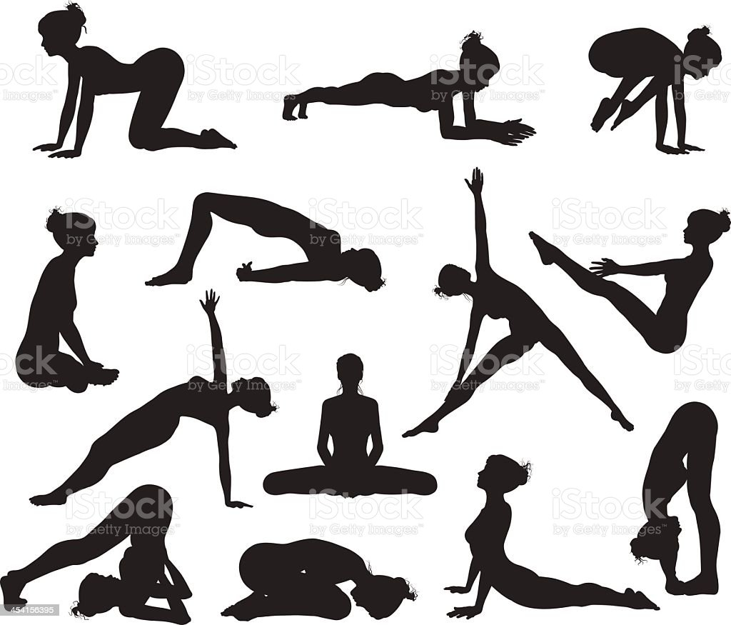 Practice yoga to feel better and to increase flexibility  vector art illustration
