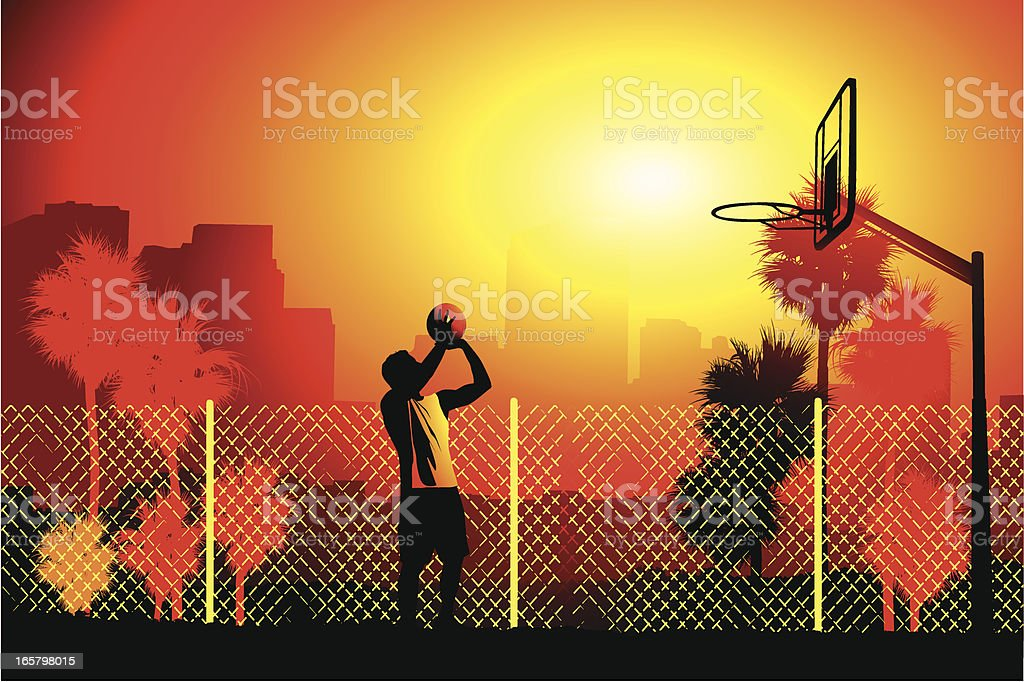 Practicing free throws vector art illustration