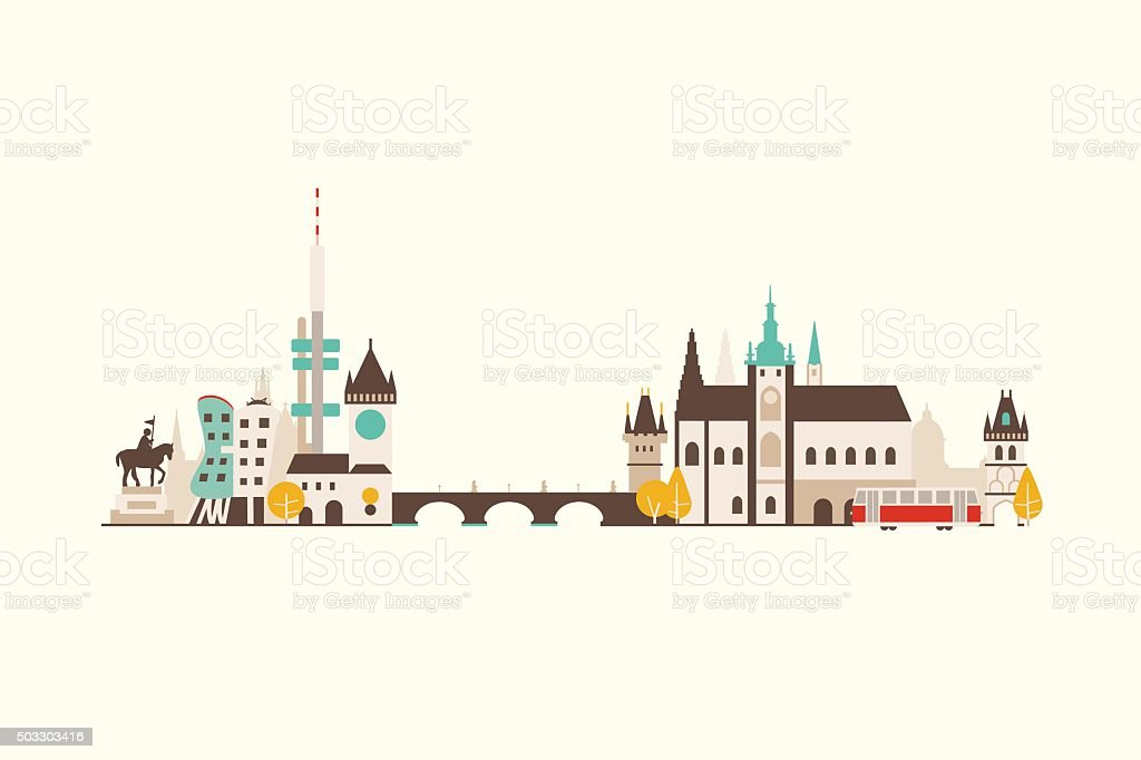 Prague abstract skyline vector art illustration
