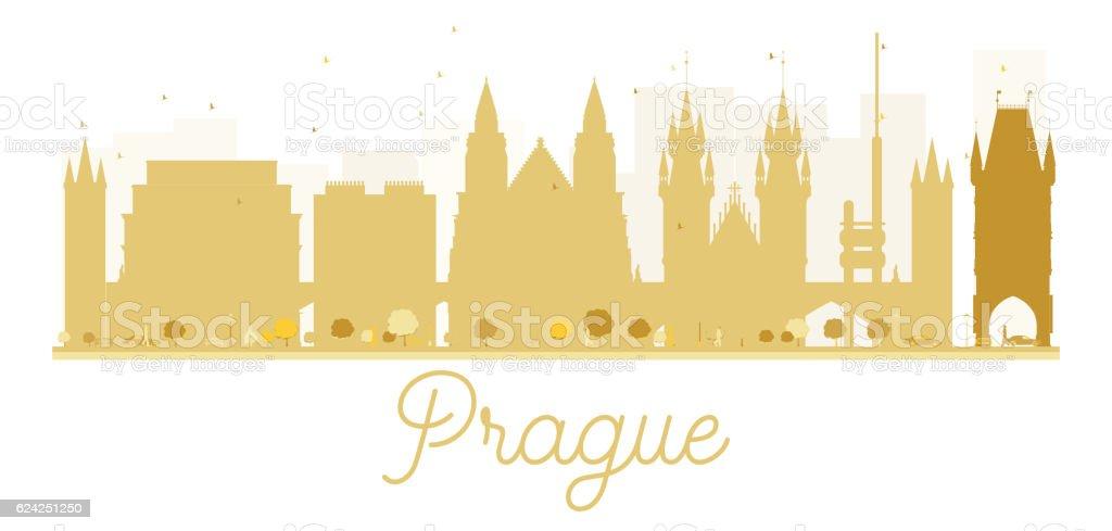 Prague City skyline golden silhouette. vector art illustration