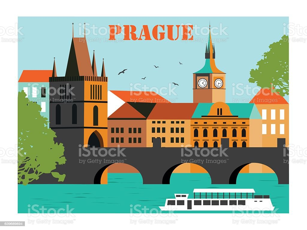 Prague city vector art illustration