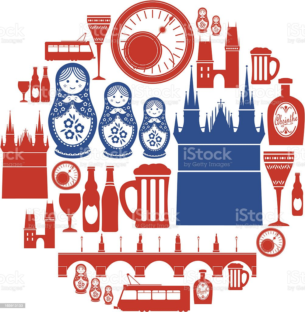 Prague Icon Set vector art illustration