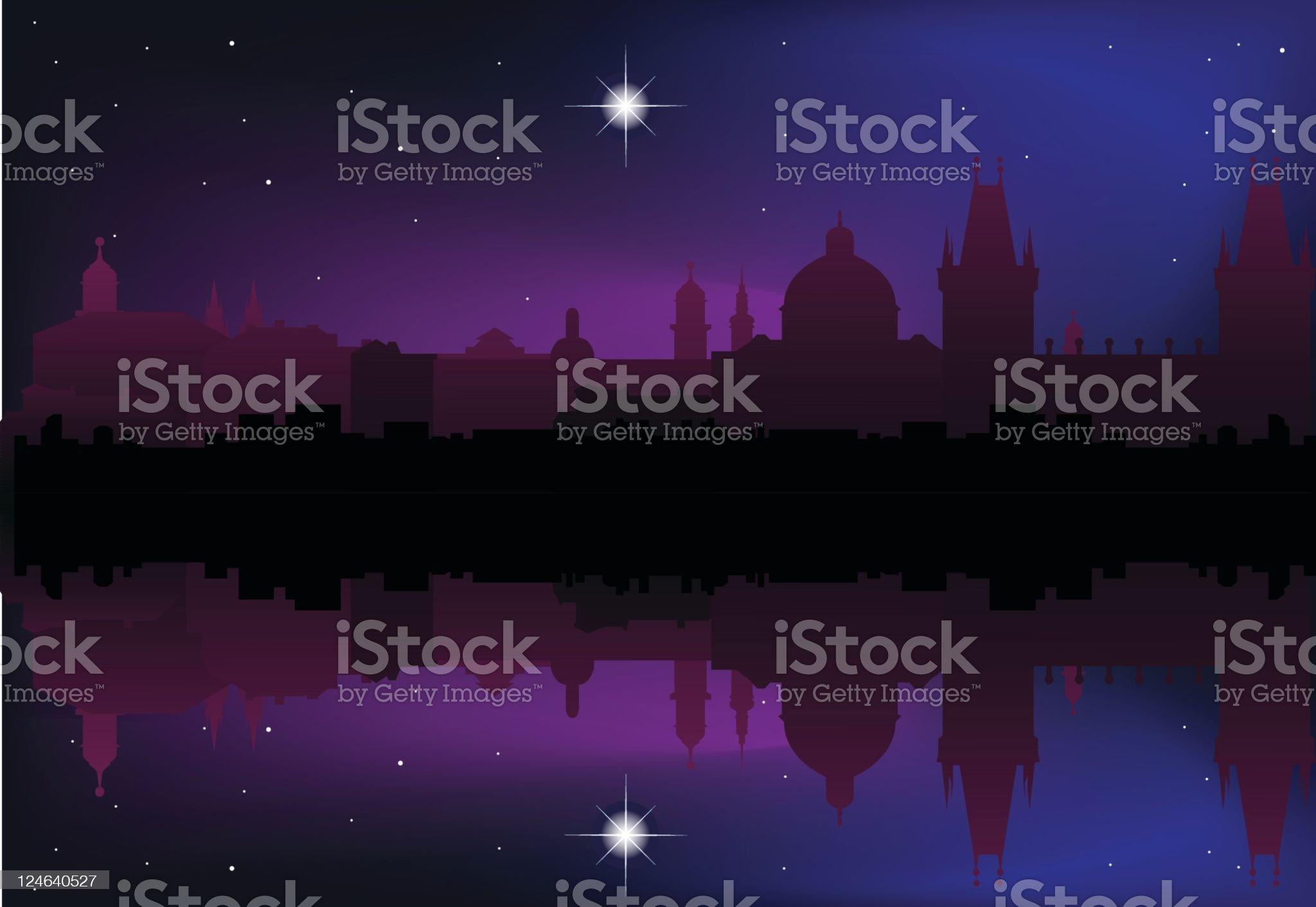 Prague Skyline at Night royalty-free stock vector art