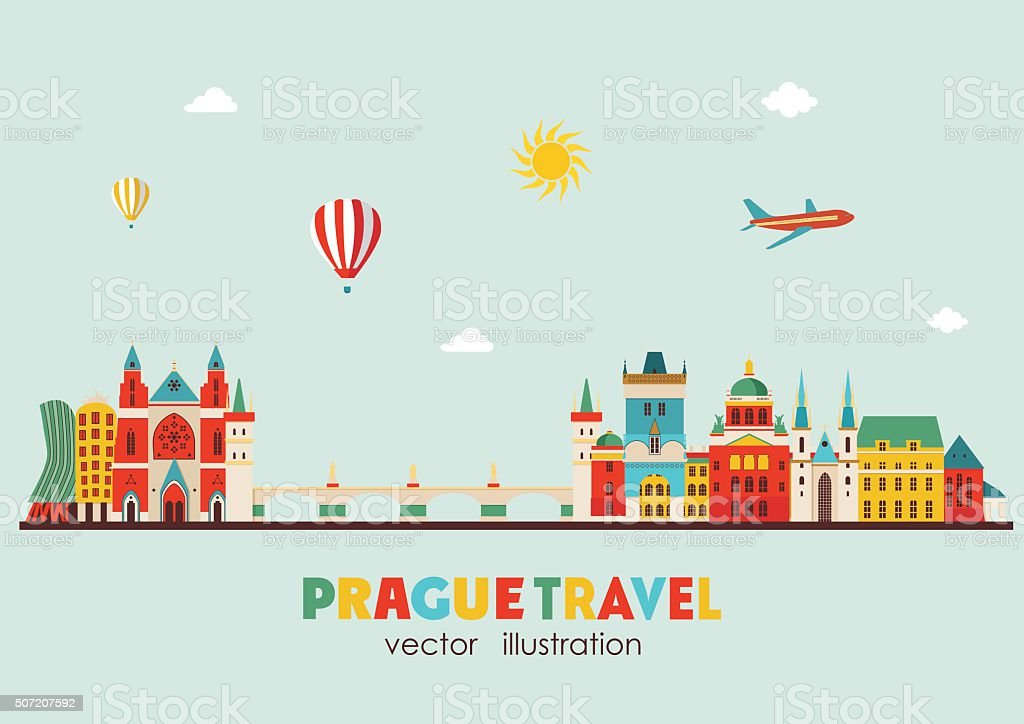 Prague skyline. Vector illustration vector art illustration