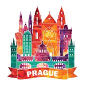 Prague skyline. Vector illustration