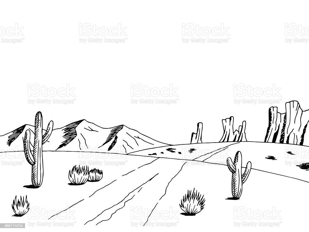 Prairie Road Graphic American Desert Black White Landscape ...