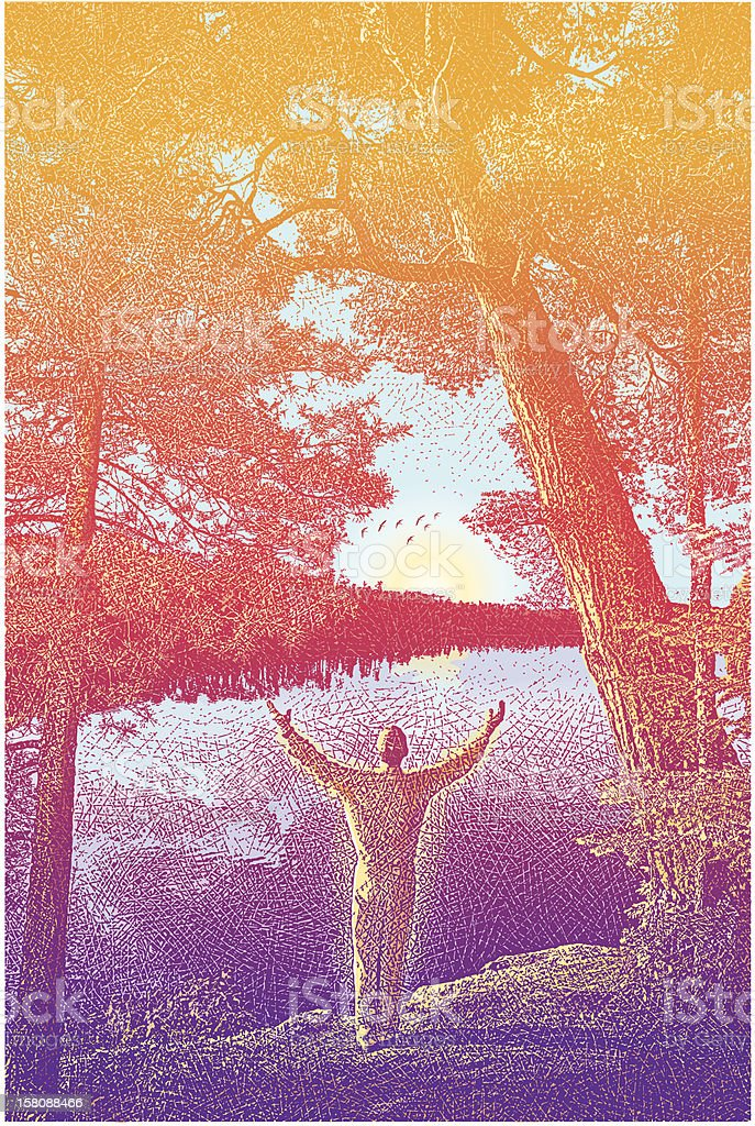 Praise and Nature vector art illustration