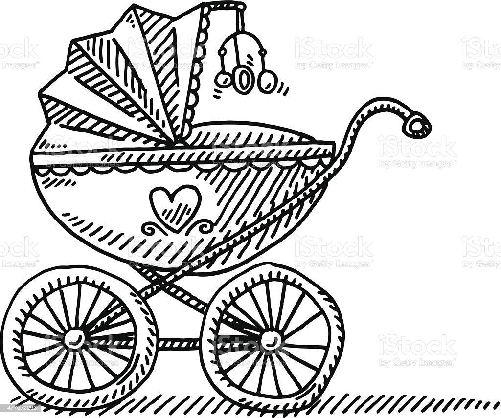 Pram Baby Carriage Drawing vector art illustration