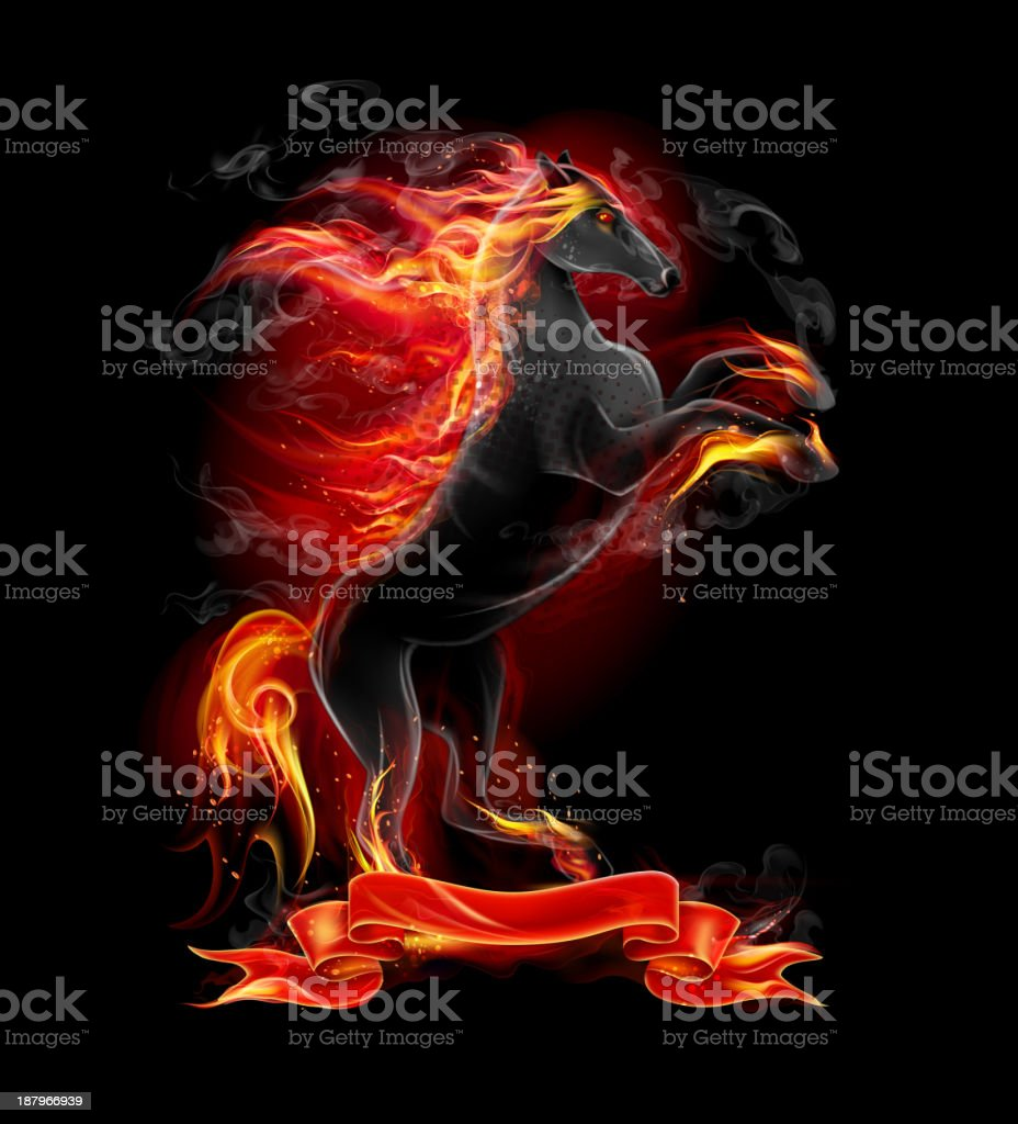 Prancing Black Fire Horse royalty-free stock vector art