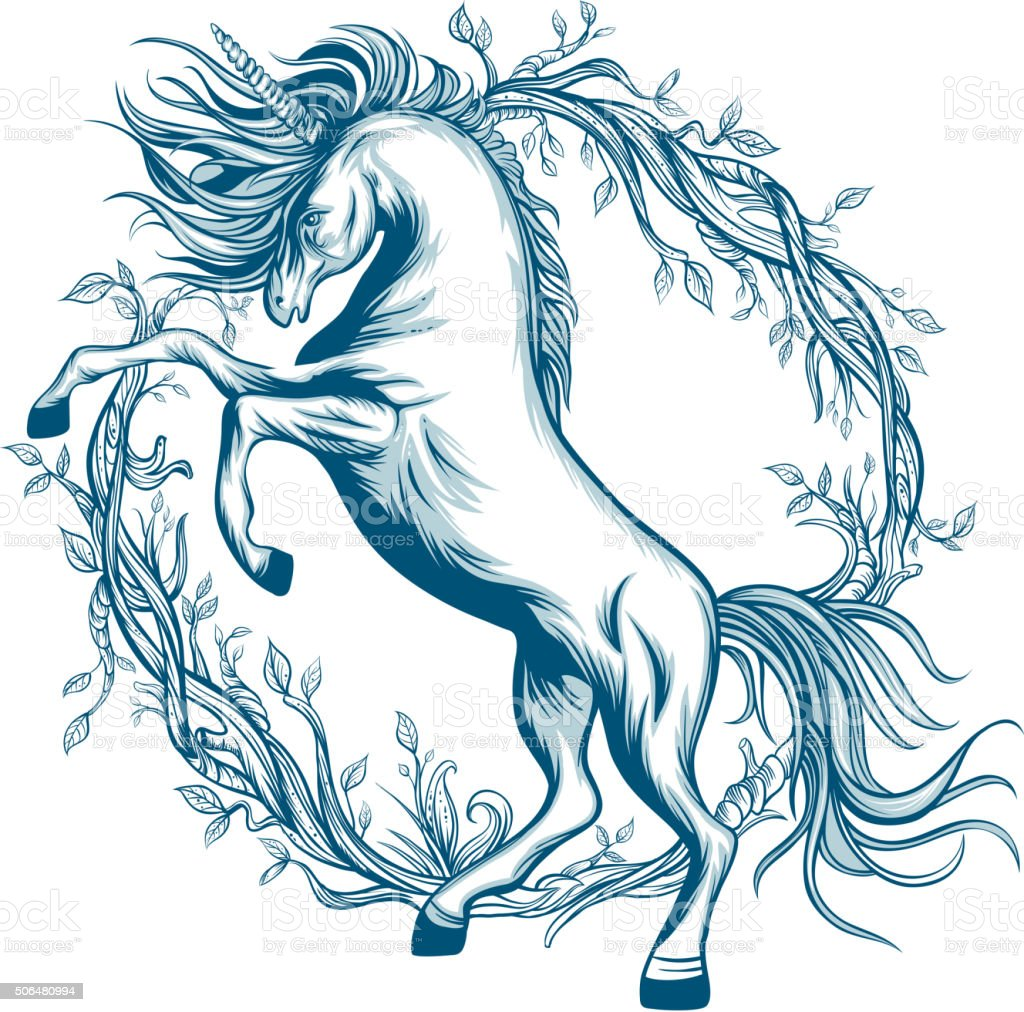 Prancing unicorn vector art illustration