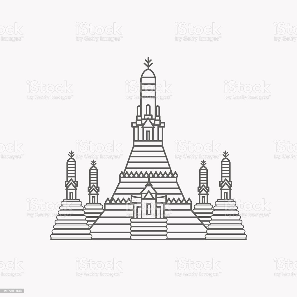 Prang of Wat Arun, Bangkok ,Thailand vector art illustration